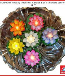 SALCON Water Floating Smokeless Candles & Lotus Flowers Sensor Led LIGHT(276)